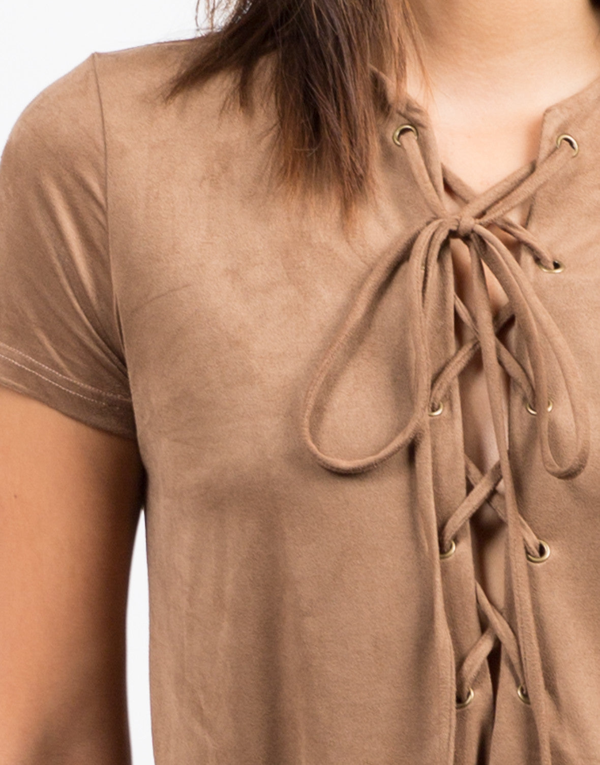 Detail of Suede Lace Up Tee Dress