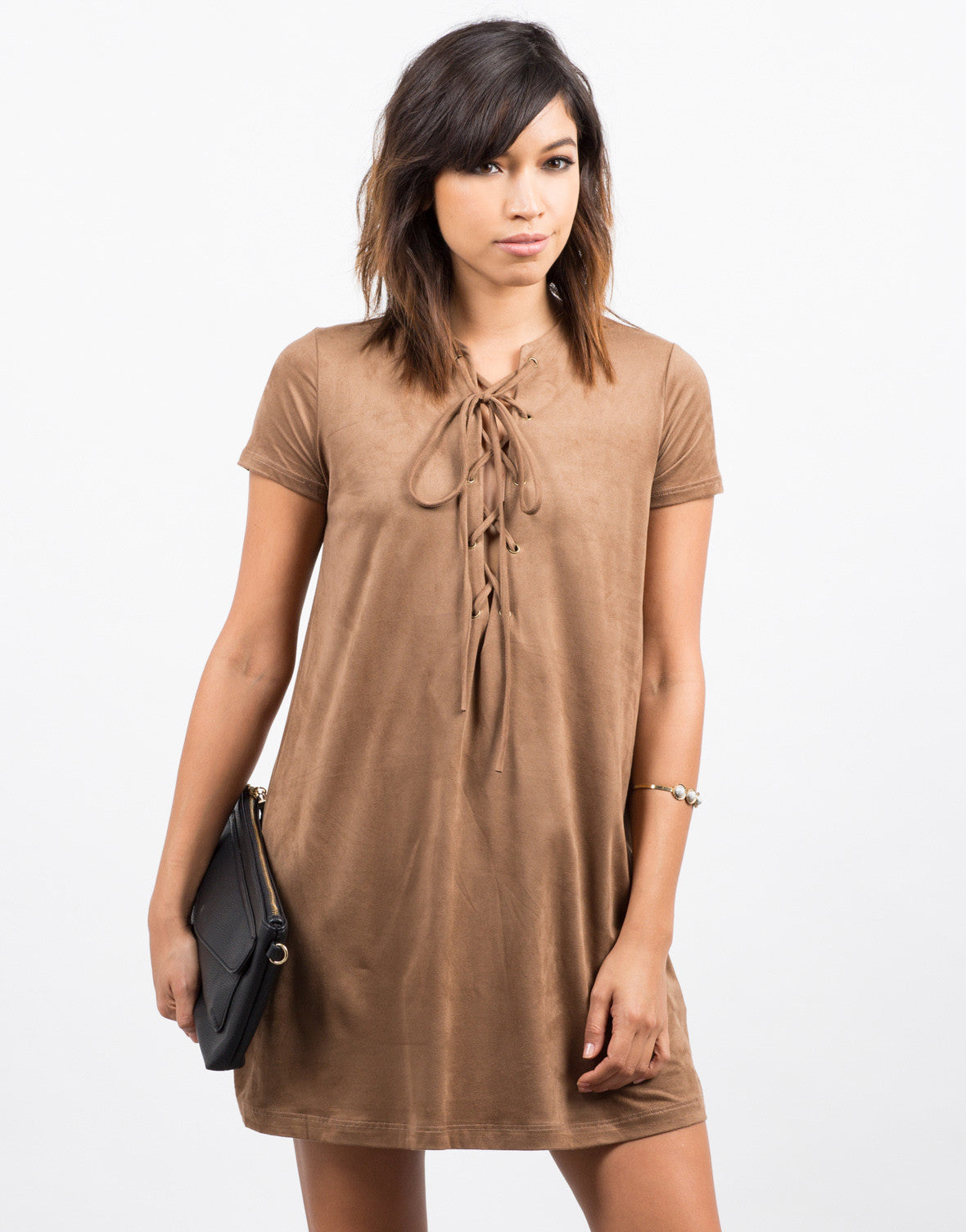 Front View of Suede Lace Up Tee Dress