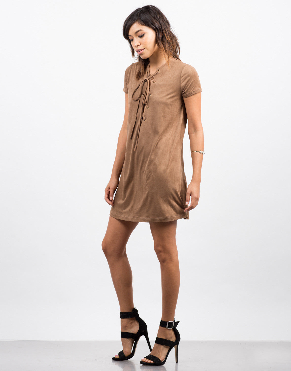 Side View of Suede Lace Up Tee Dress