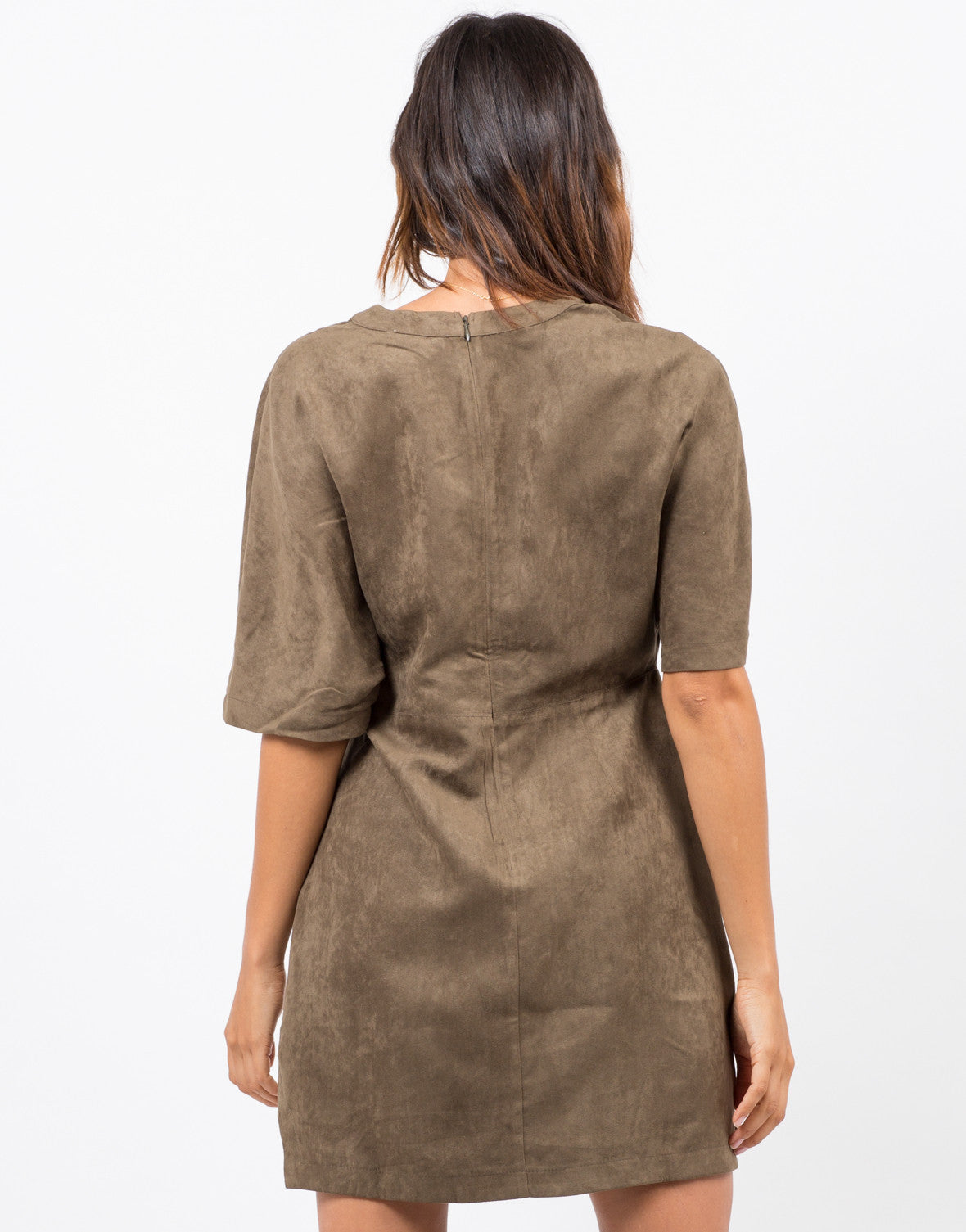 Back View of Suede Lace Up T-Shirt Dress