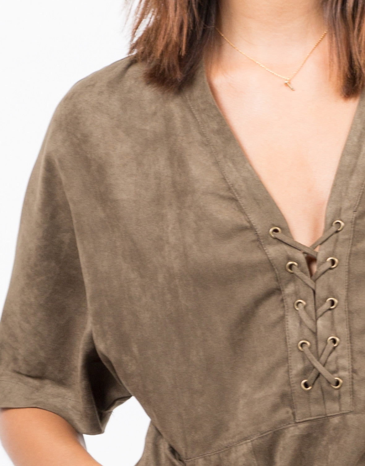 Detail of Suede Lace Up T-Shirt Dress