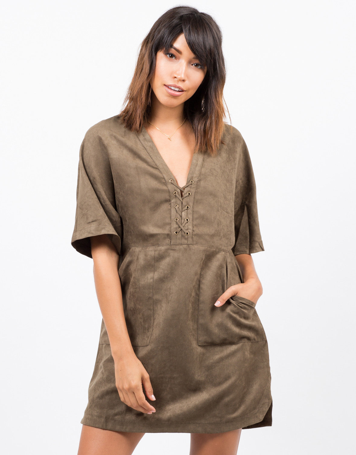 Front View of Suede Lace Up T-Shirt Dress