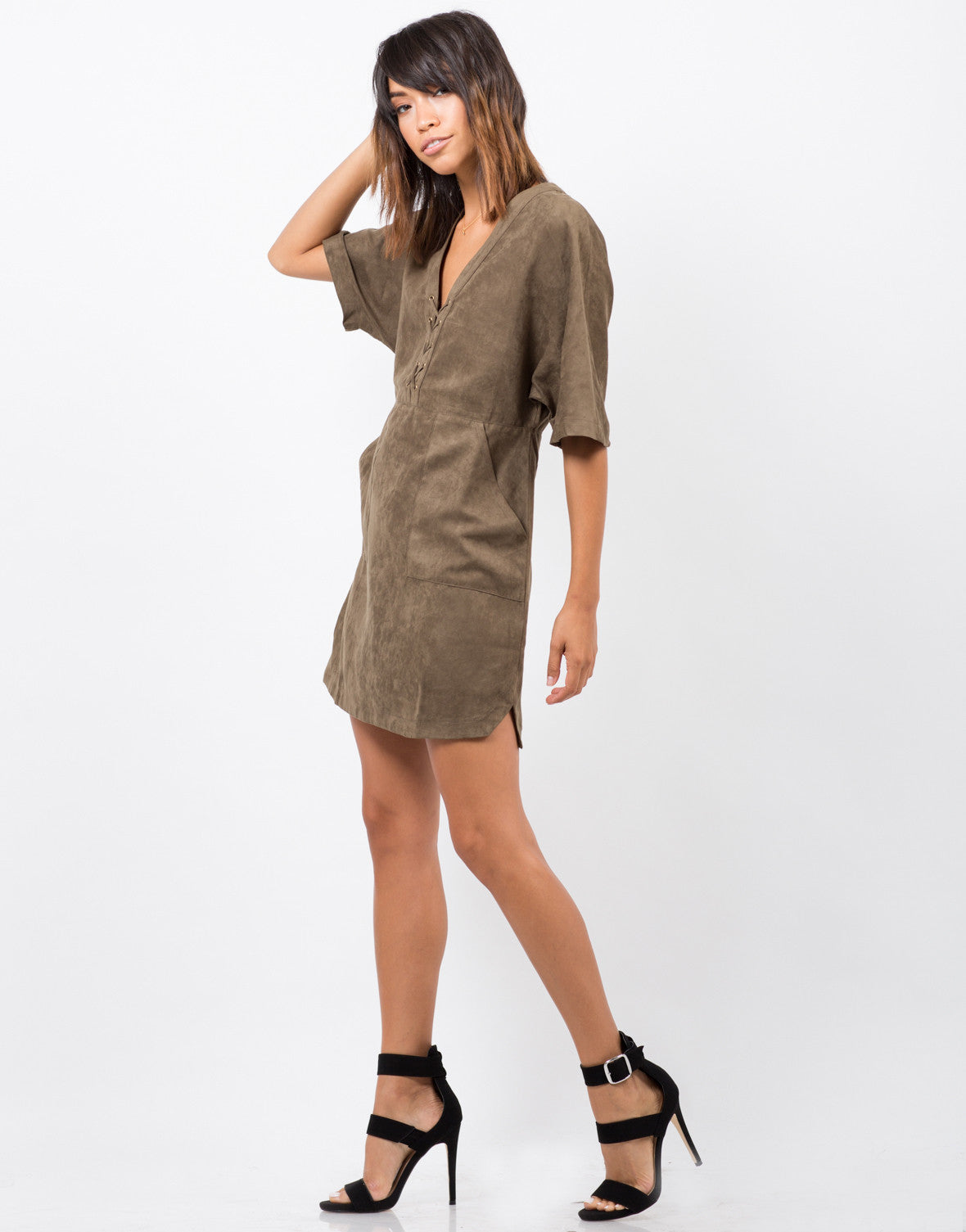 Side View of Suede Lace Up T-Shirt Dress