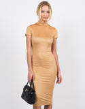 Front View of Suede Midi Dress
