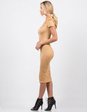 Side View of Suede Midi Dress