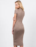 Back View of Suede Midi Dress