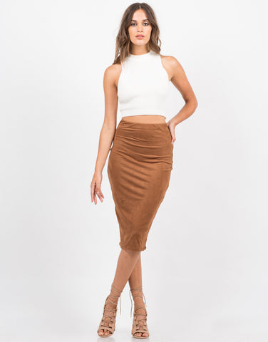 Front View of Suede Midi Skirt