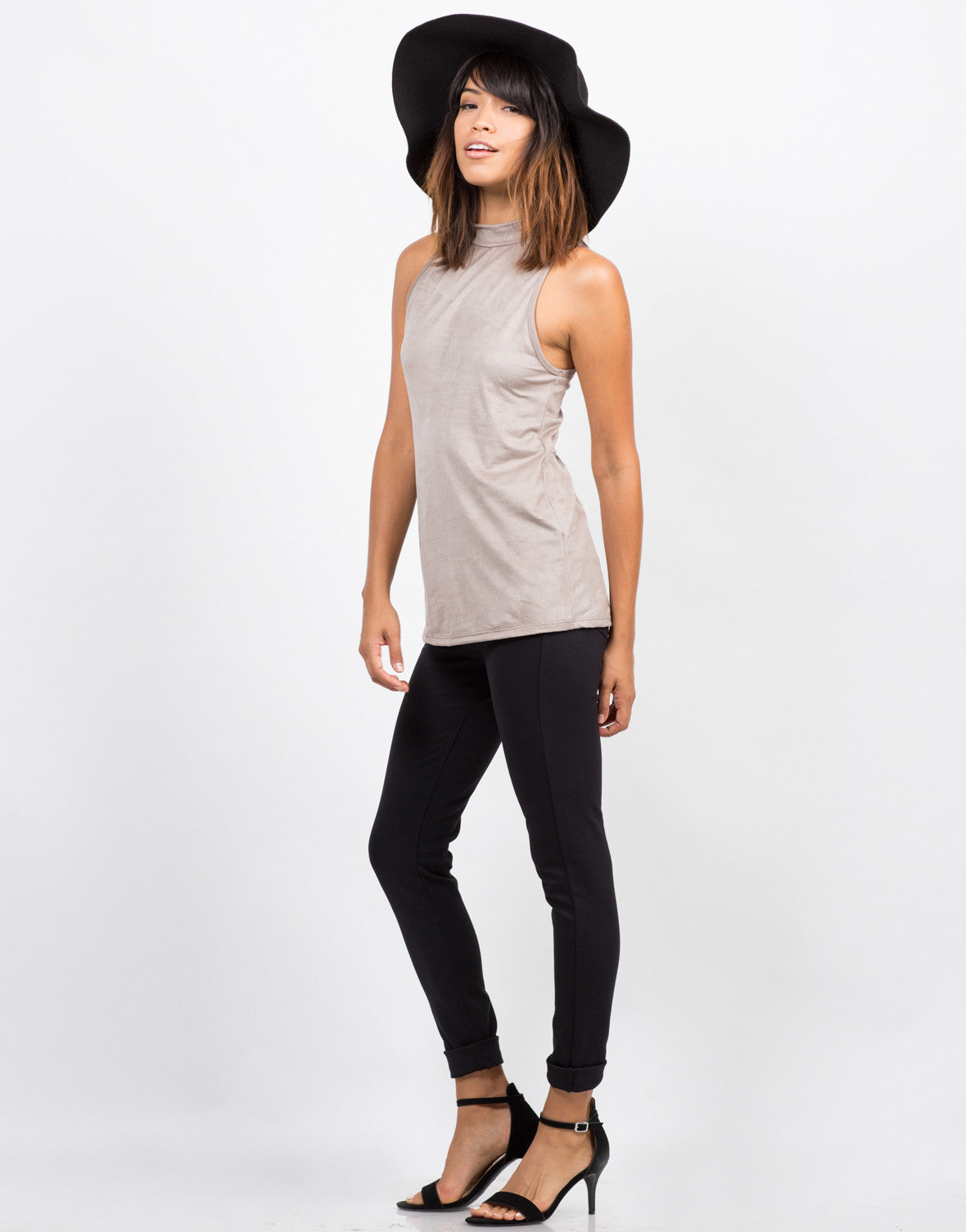 Suede Mock Neck Top