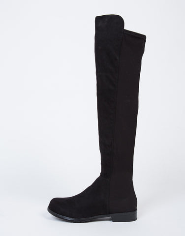 Suede Contrast Over-The-Knee Boots