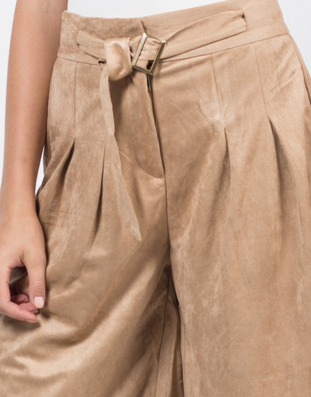 Suede Pleated Culotte Pants - 2020AVE