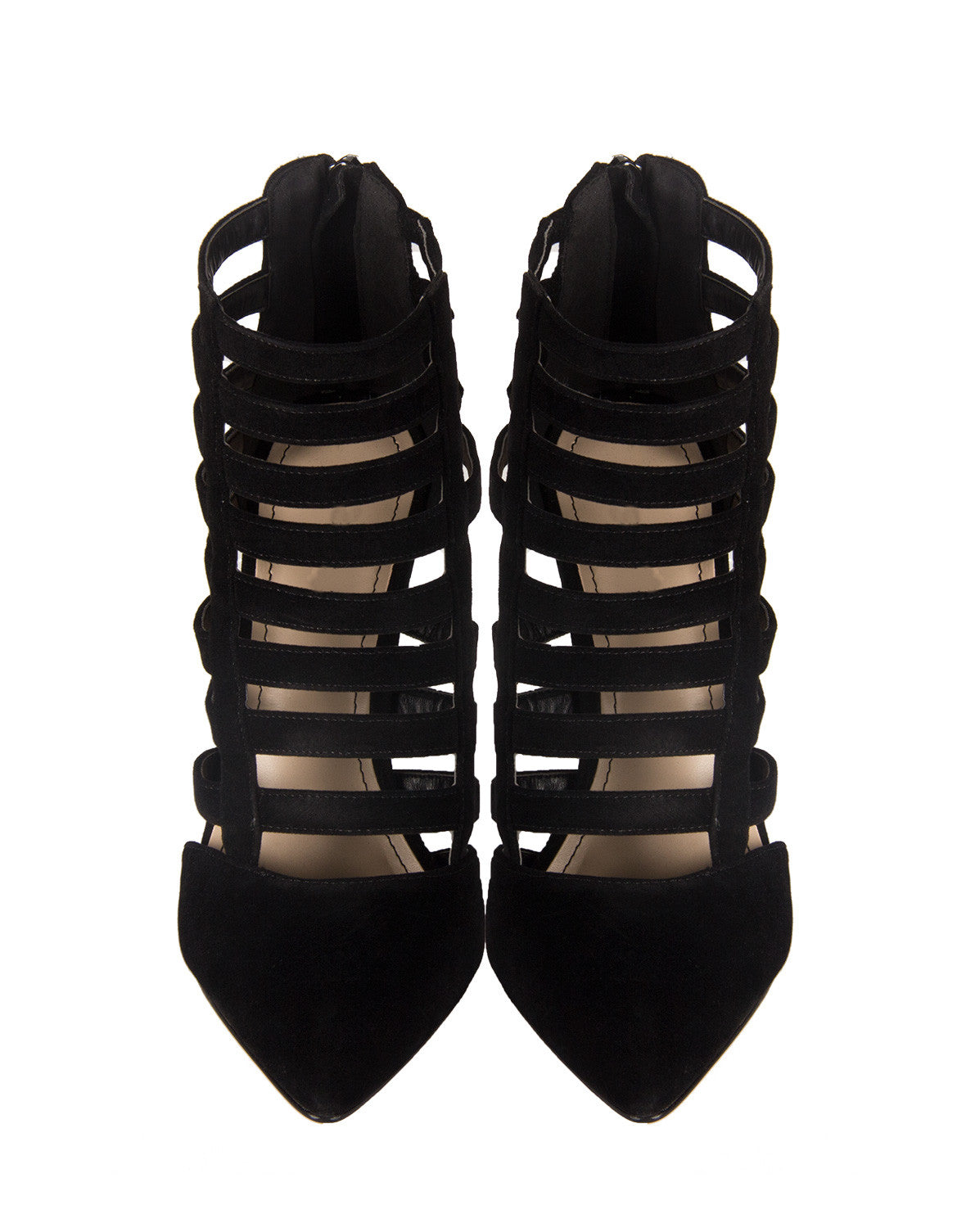 Suede Pointed Strappy Pumps - Bamboo Momentum-82 Black