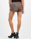 Back View of Suede Scalloped Shorts