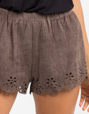 Detail of Suede Scalloped Shorts