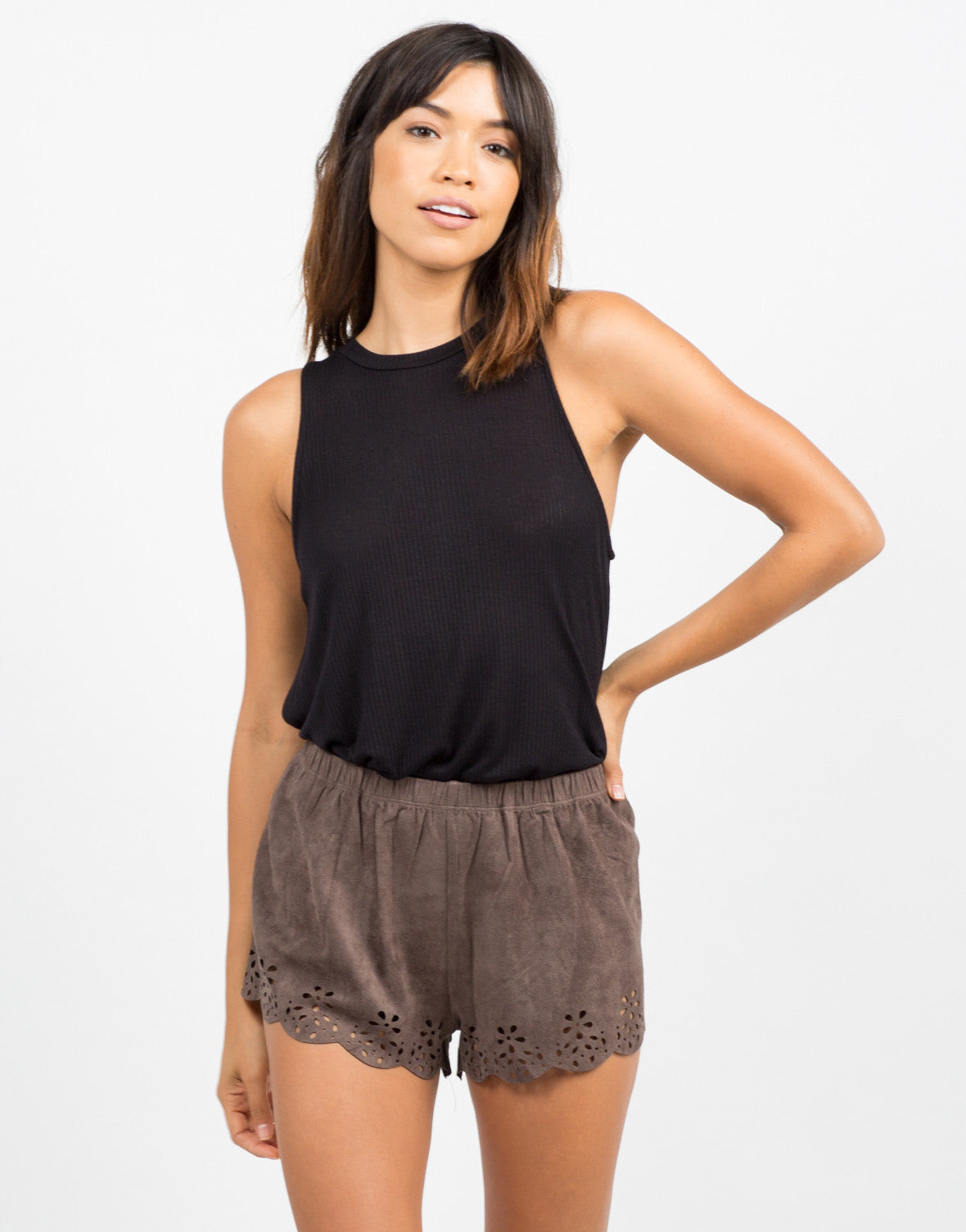 Front View of Suede Scalloped Shorts