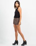 Side View of Suede Scalloped Shorts