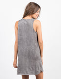 Back View of Suede Shift Dress