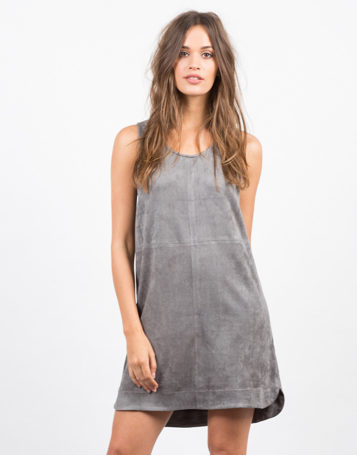 Front View of Suede Shift Dress