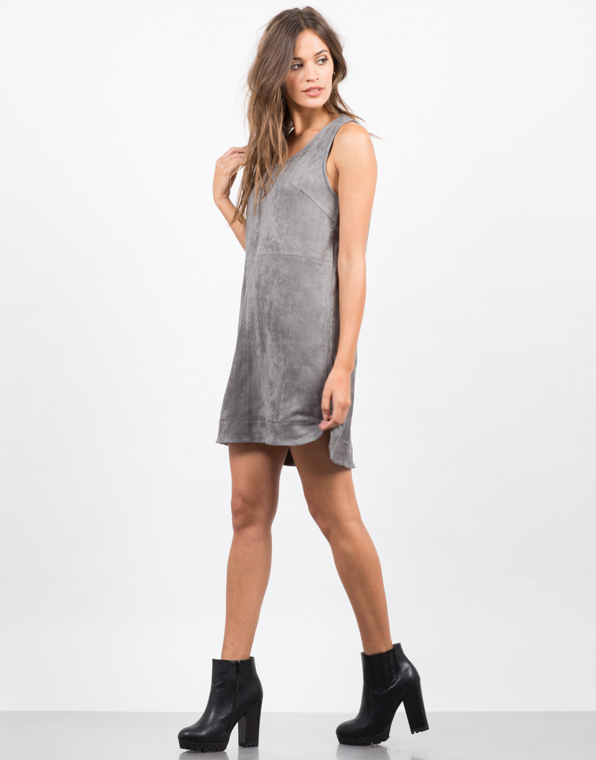 Side View of Suede Shift Dress