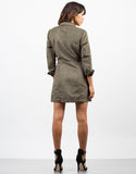 Back View of Suede Shirt Dress