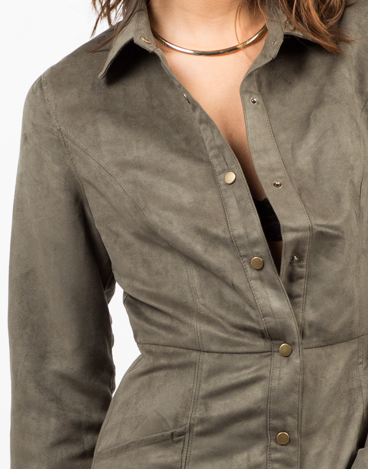Detail of Suede Shirt Dress