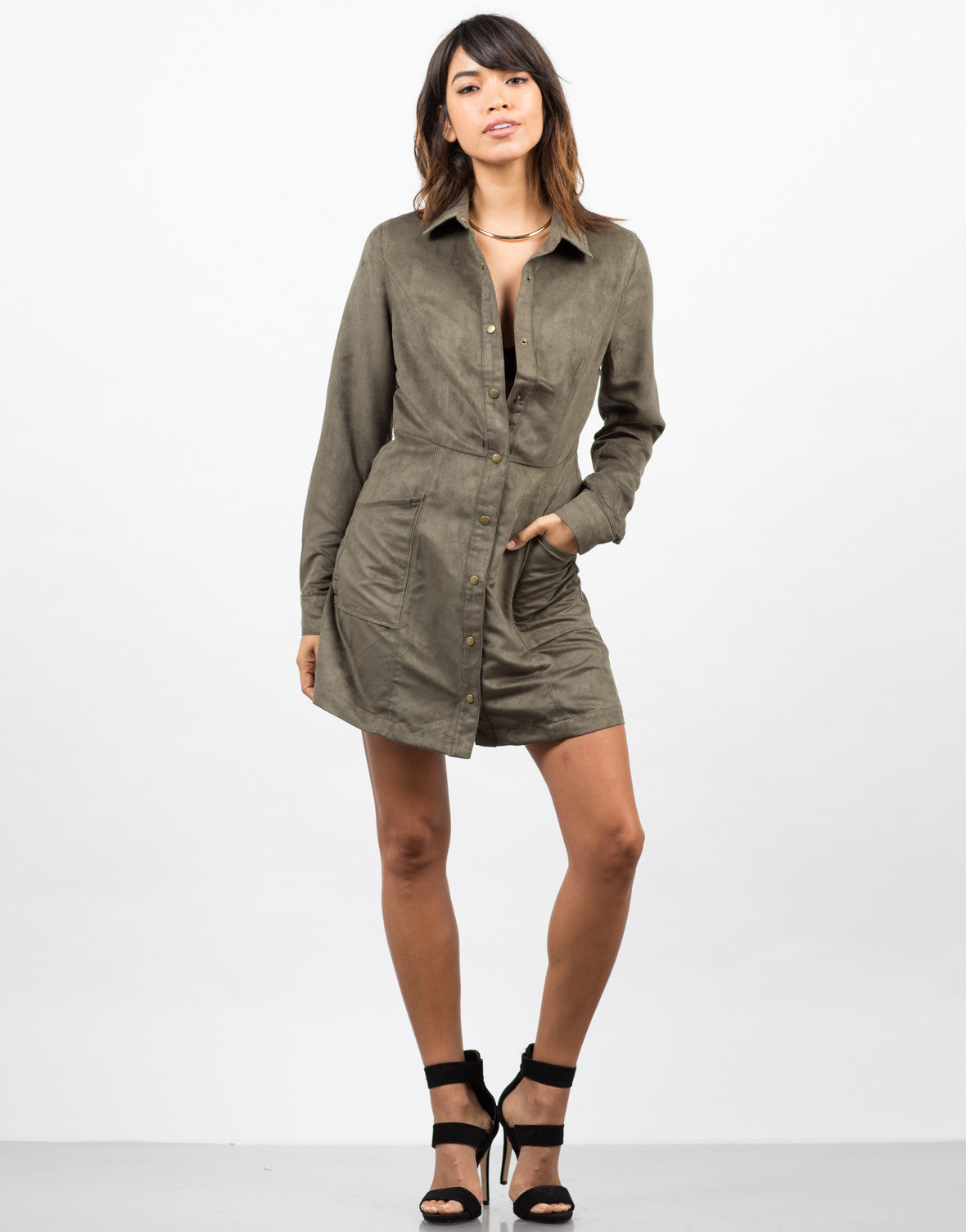 Front View of Suede Shirt Dress