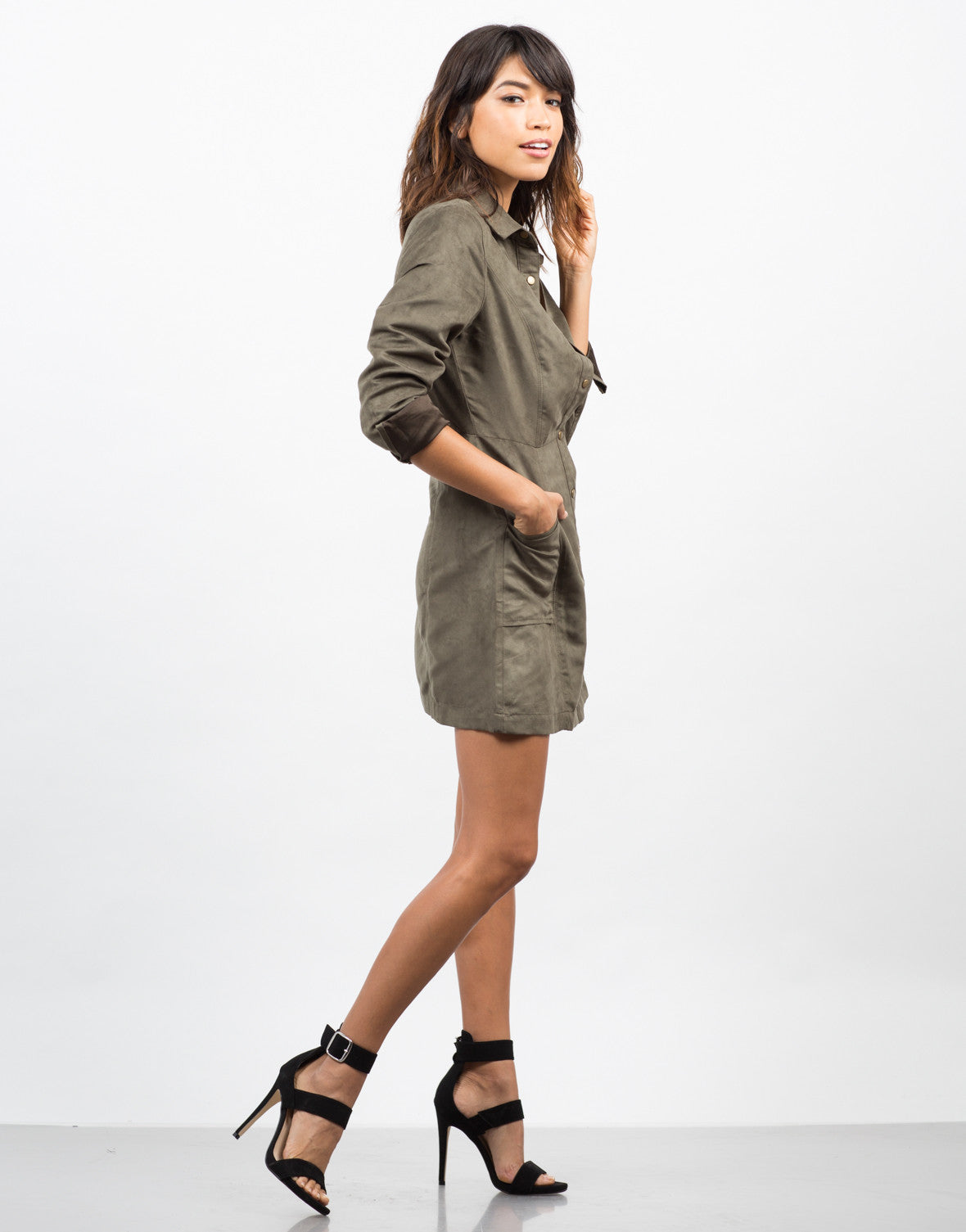 Side View of Suede Shirt Dress