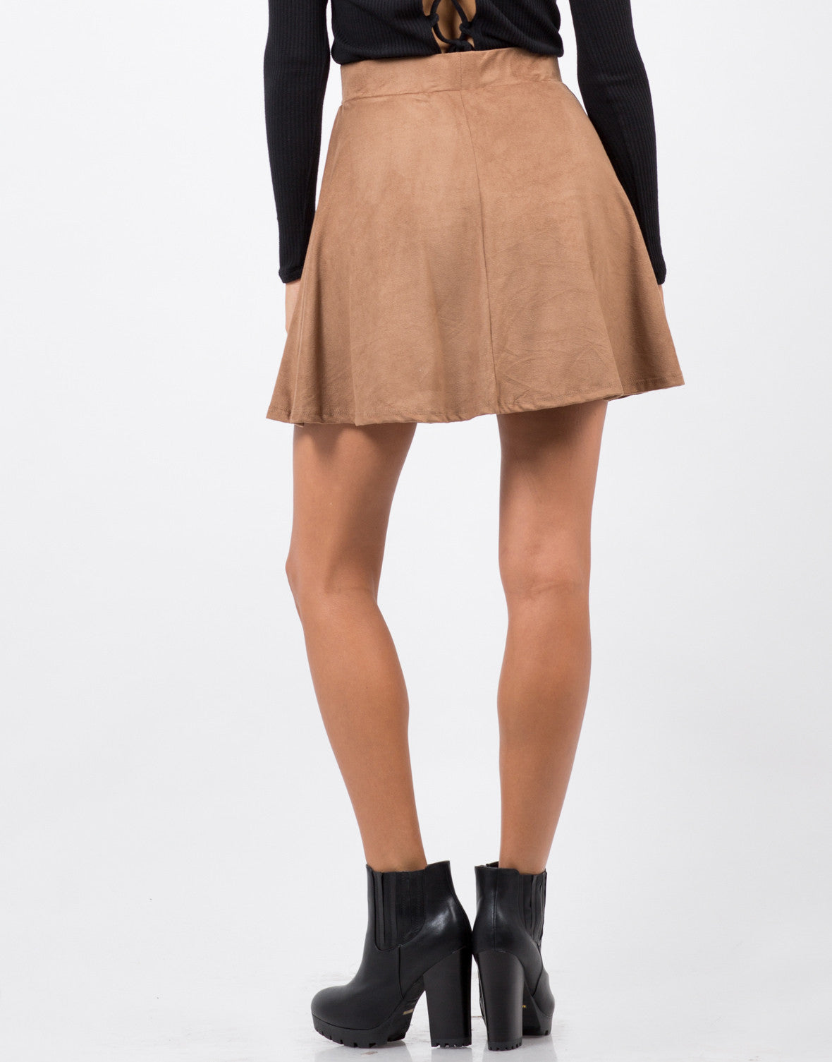 Back View of Suede Skater Skirt