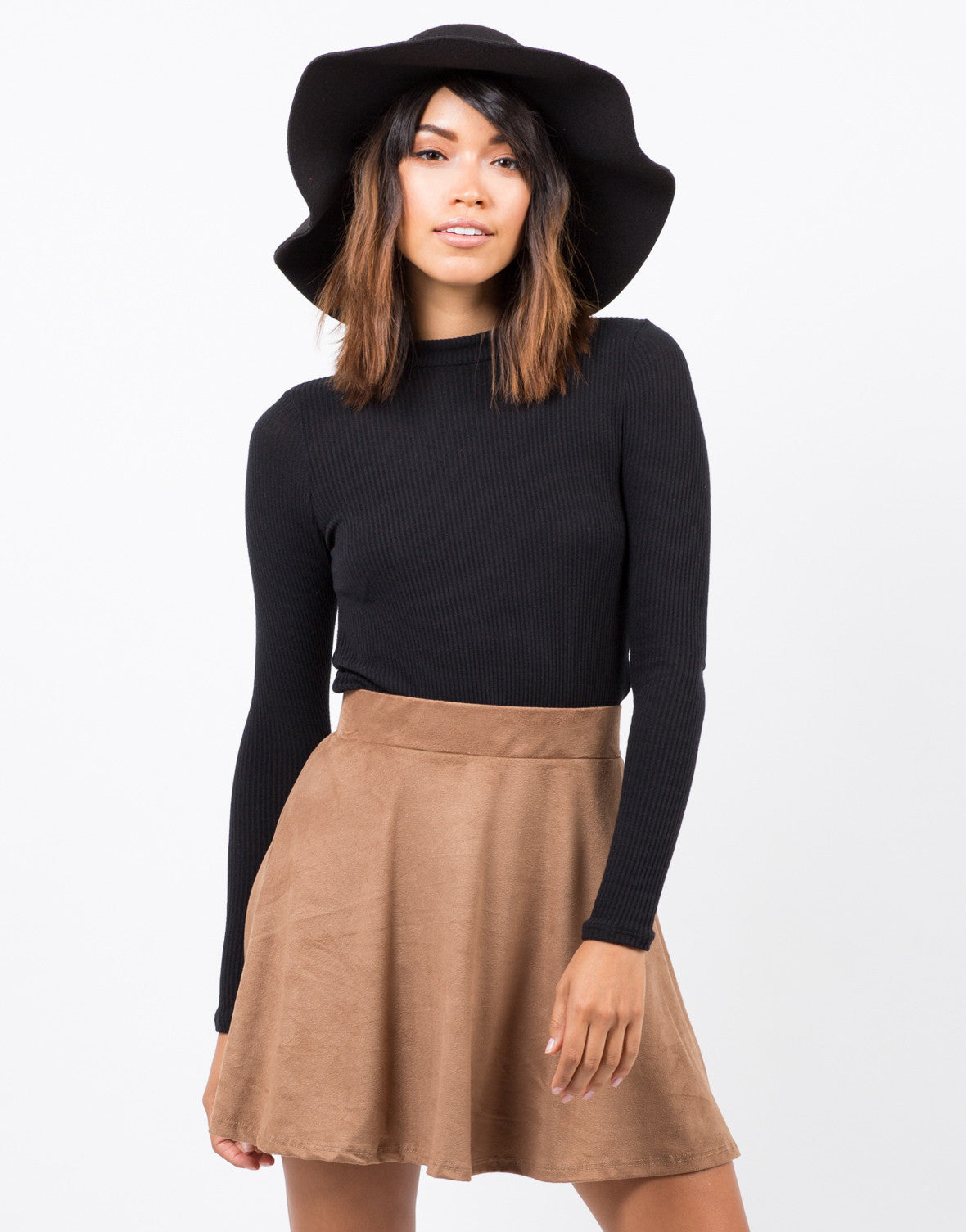 Front View of Suede Skater Skirt
