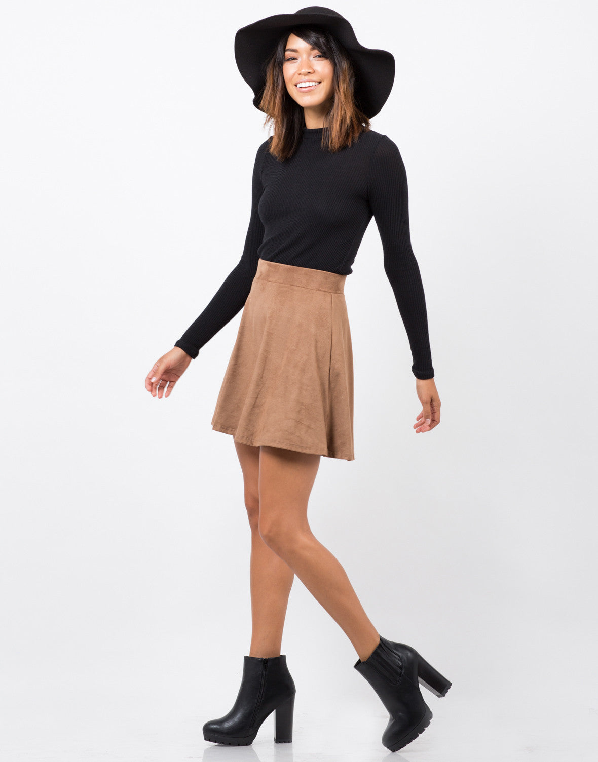 Side View of Suede Skater Skirt