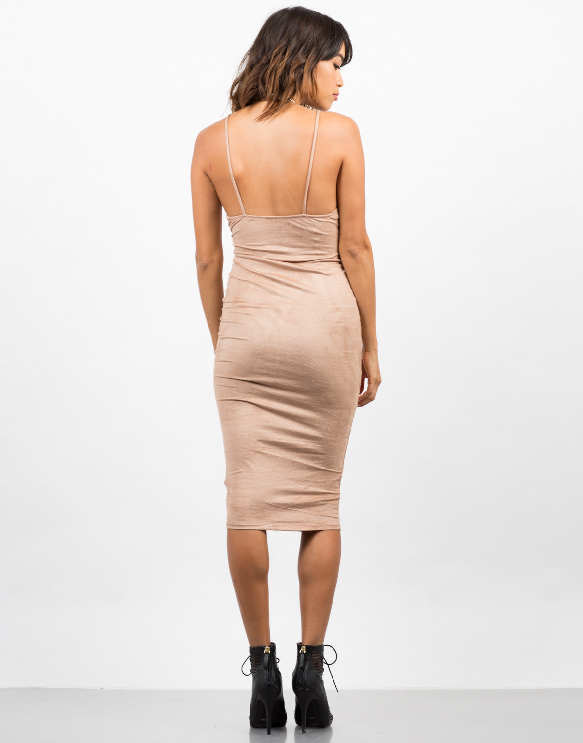 Back View of Suede Slip Dress