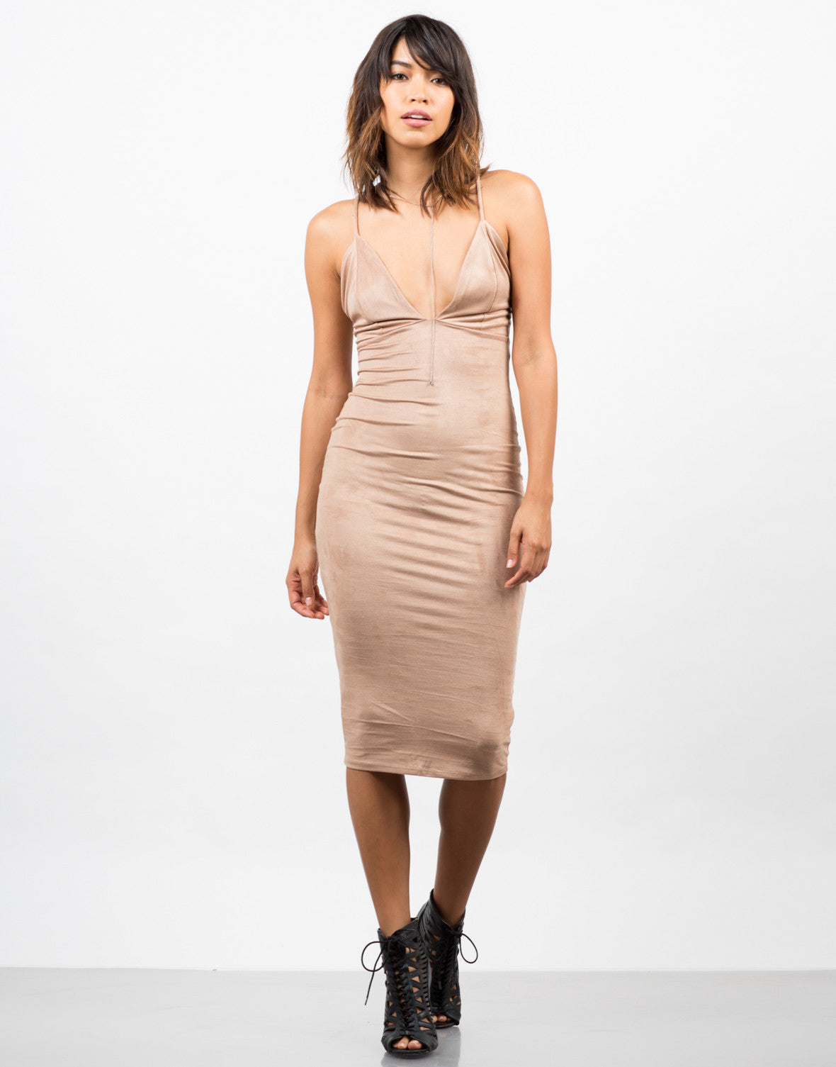 Front View of Suede Slip Dress