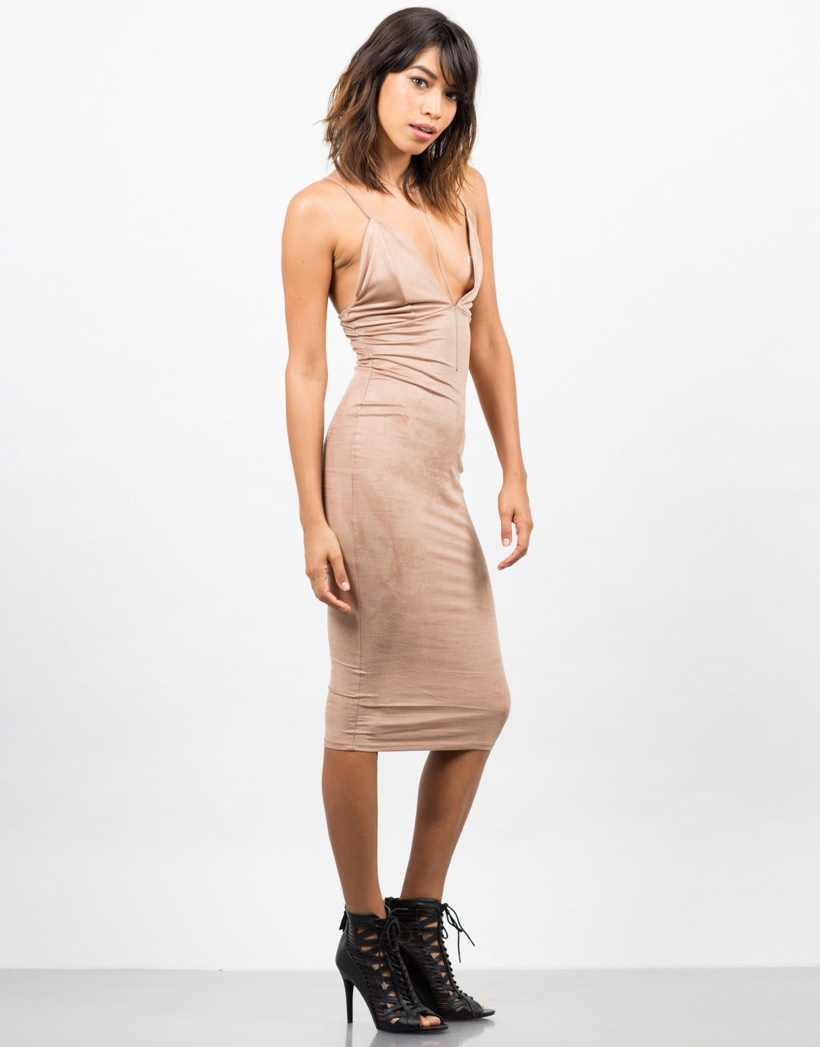 Side View of Suede Slip Dress