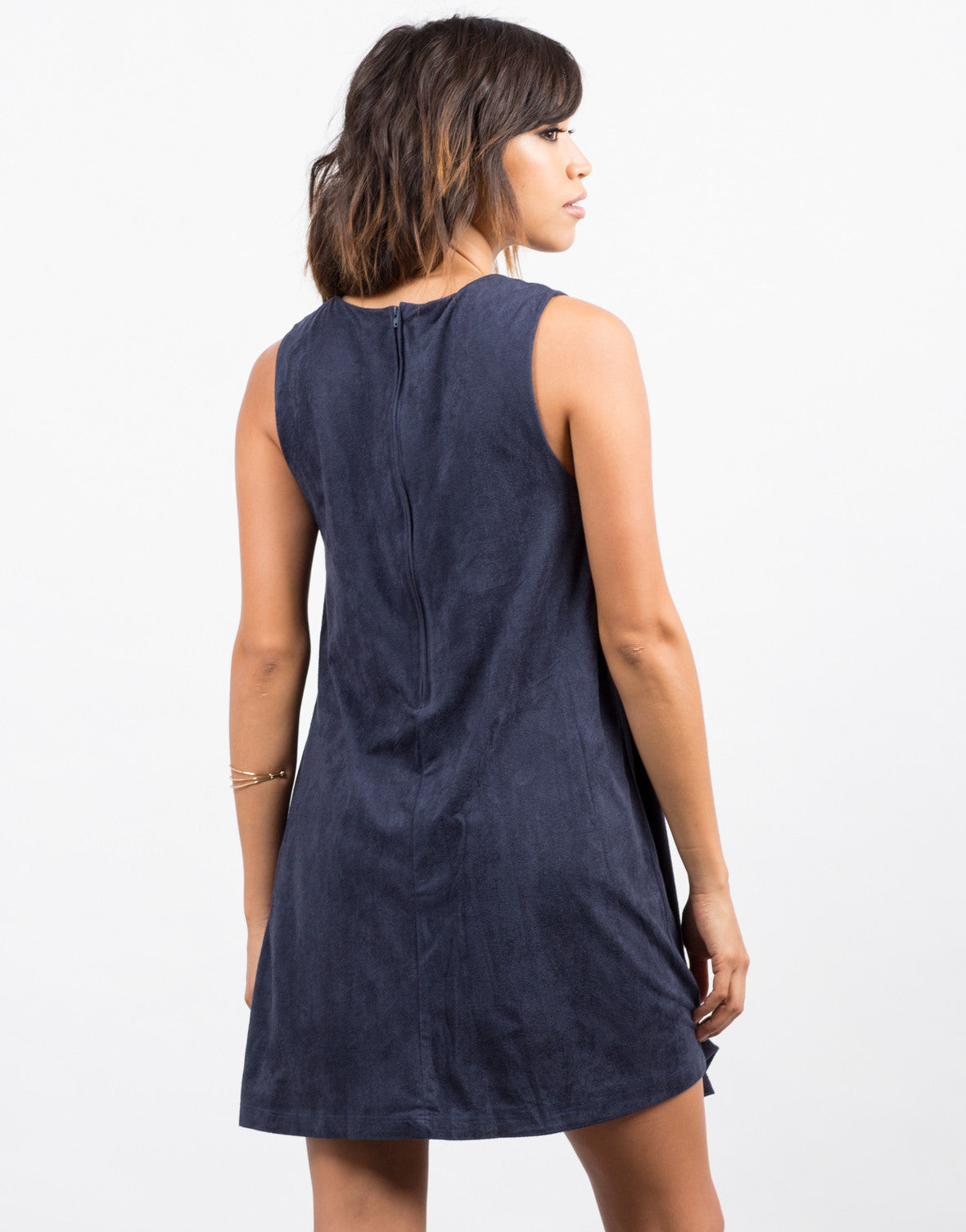 Back View of Suede Stitched Tank Dress