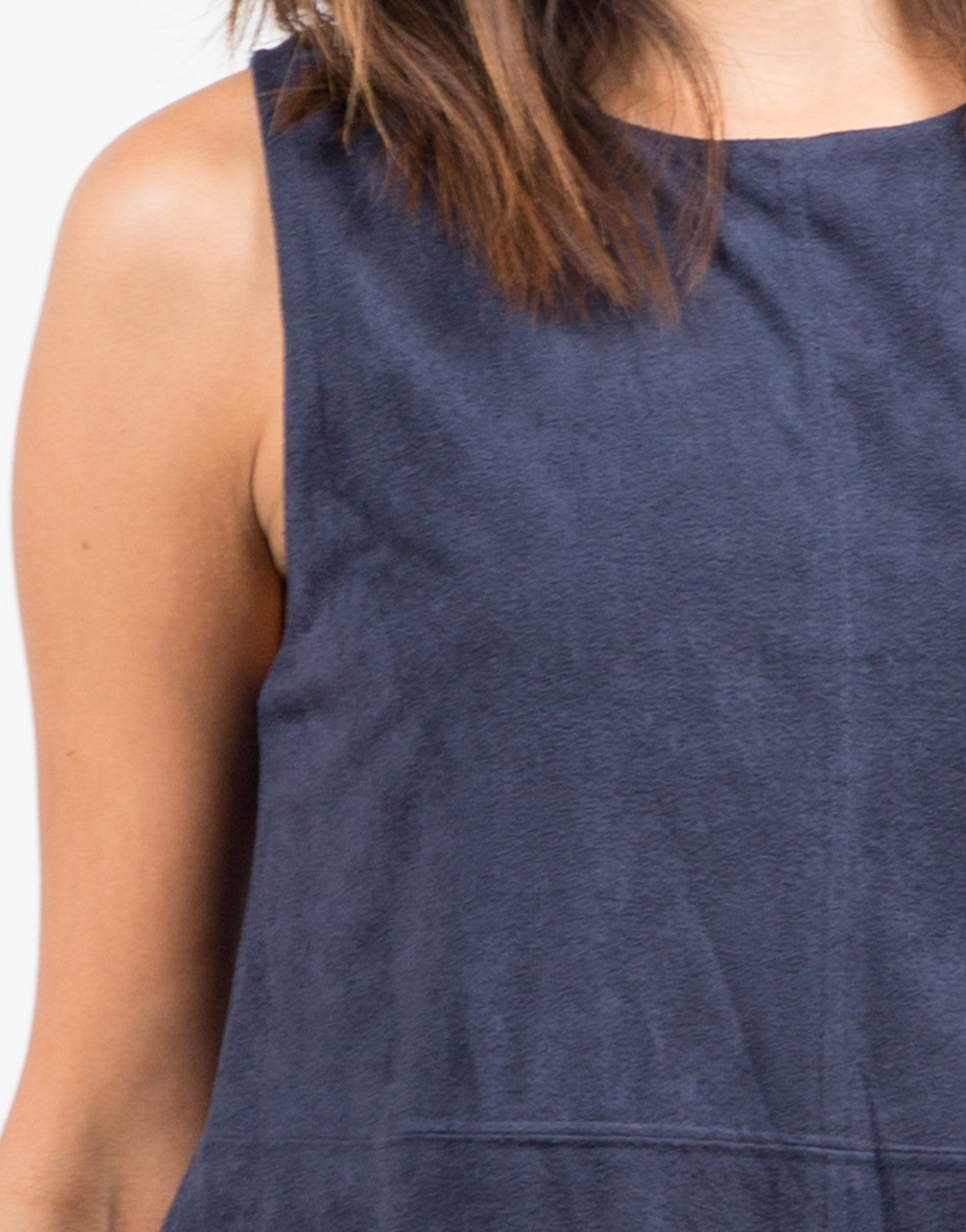 Detail of Suede Stitched Tank Dress