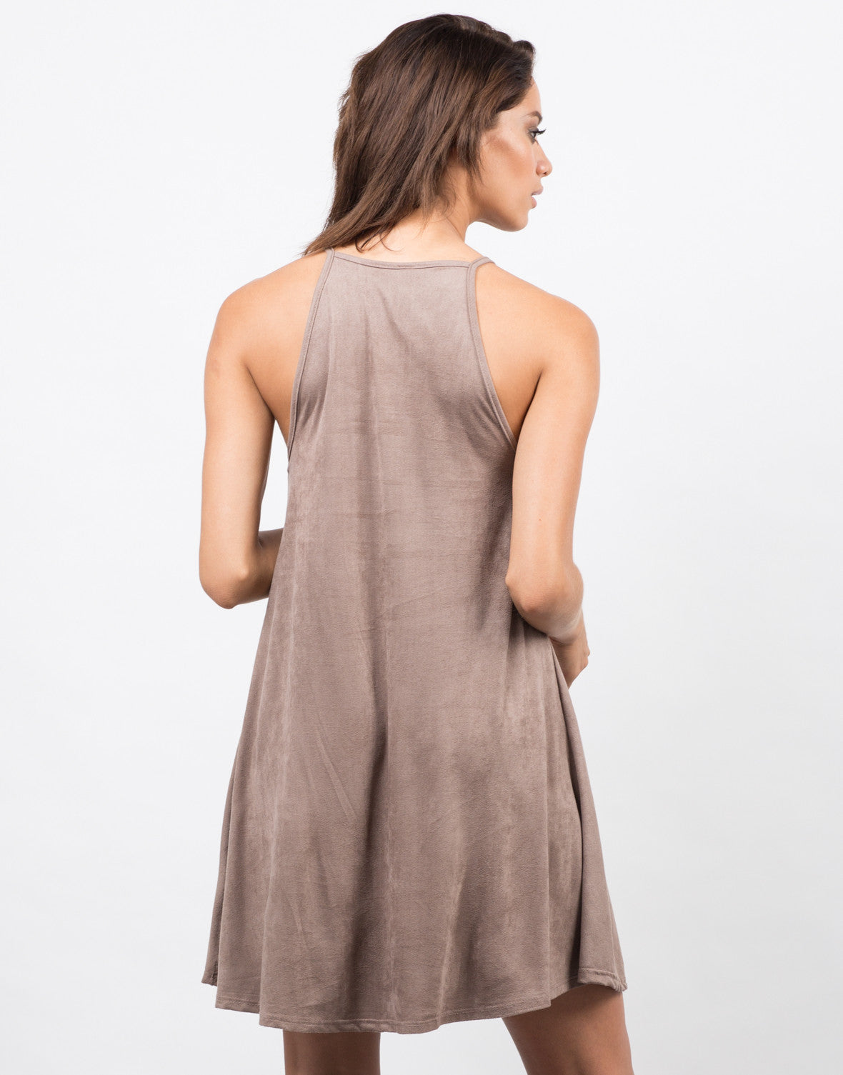 Back View of Suede Swing Dress