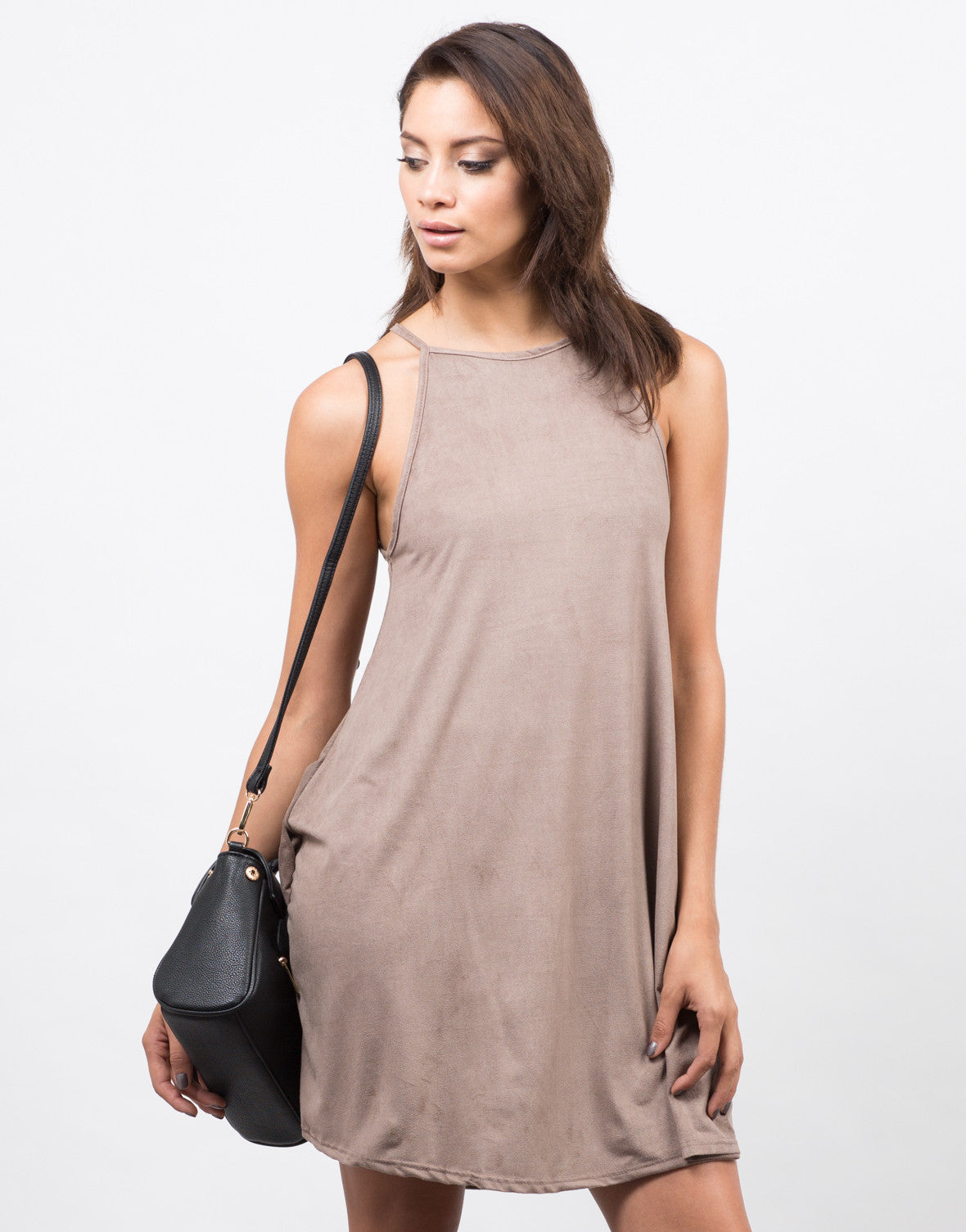 Front View of Suede Swing Dress