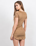 Back View of Suede Tied Up Dress