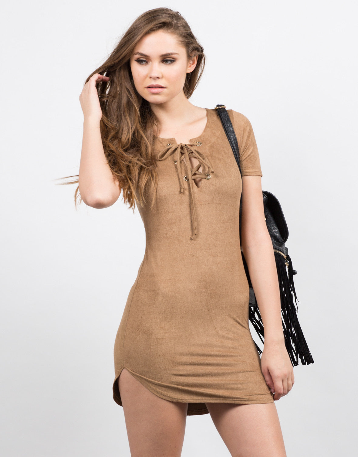 Front View of Suede Tied Up Dress