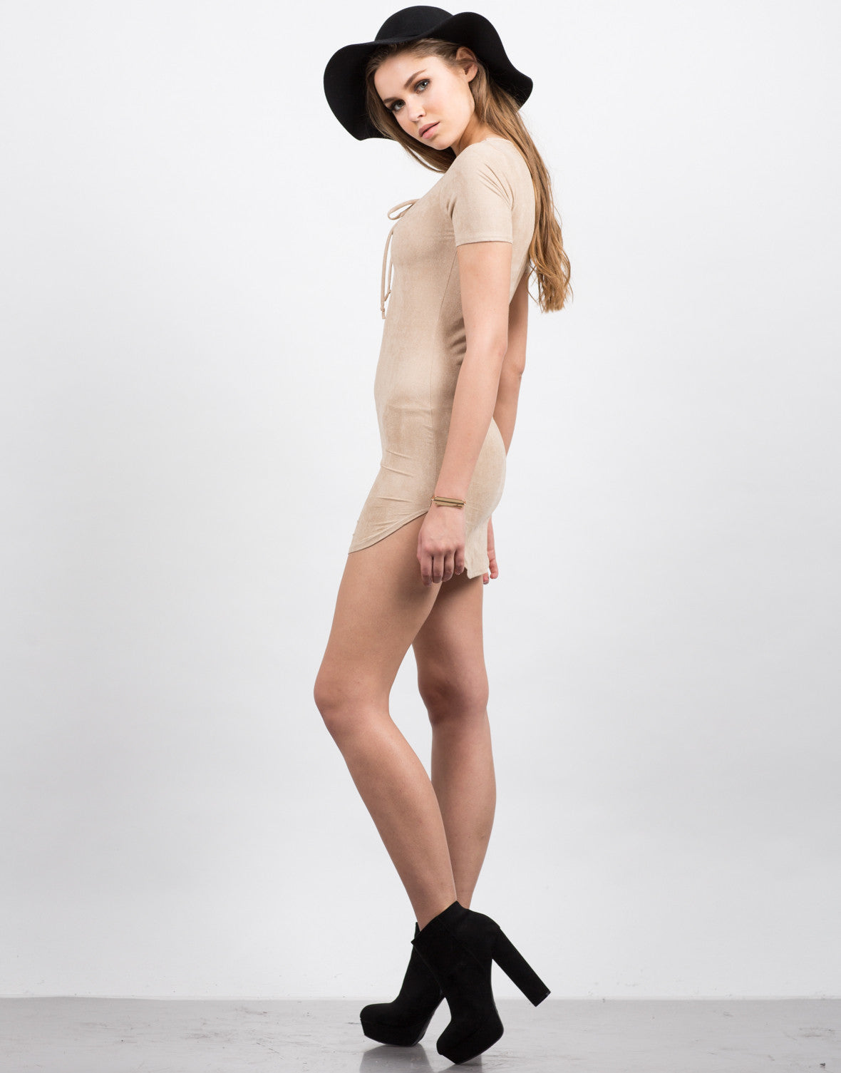 Side View of Suede Tied Up Dress