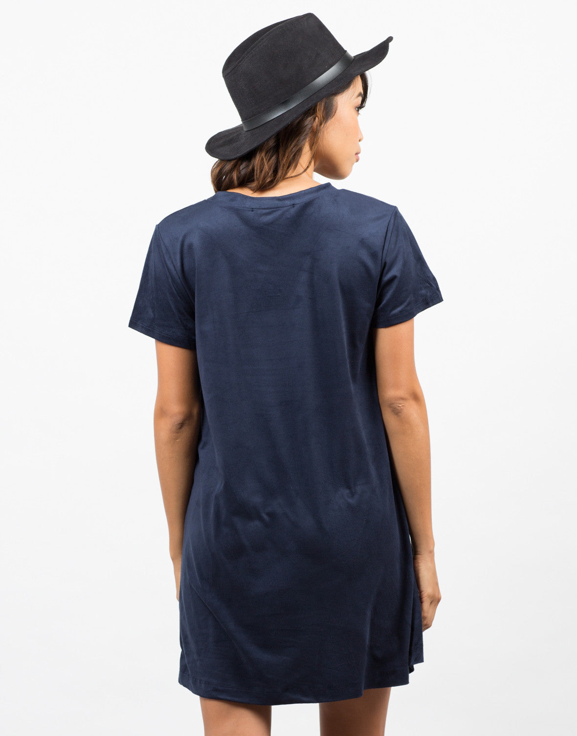 Back View of Suede T-Shirt Dress