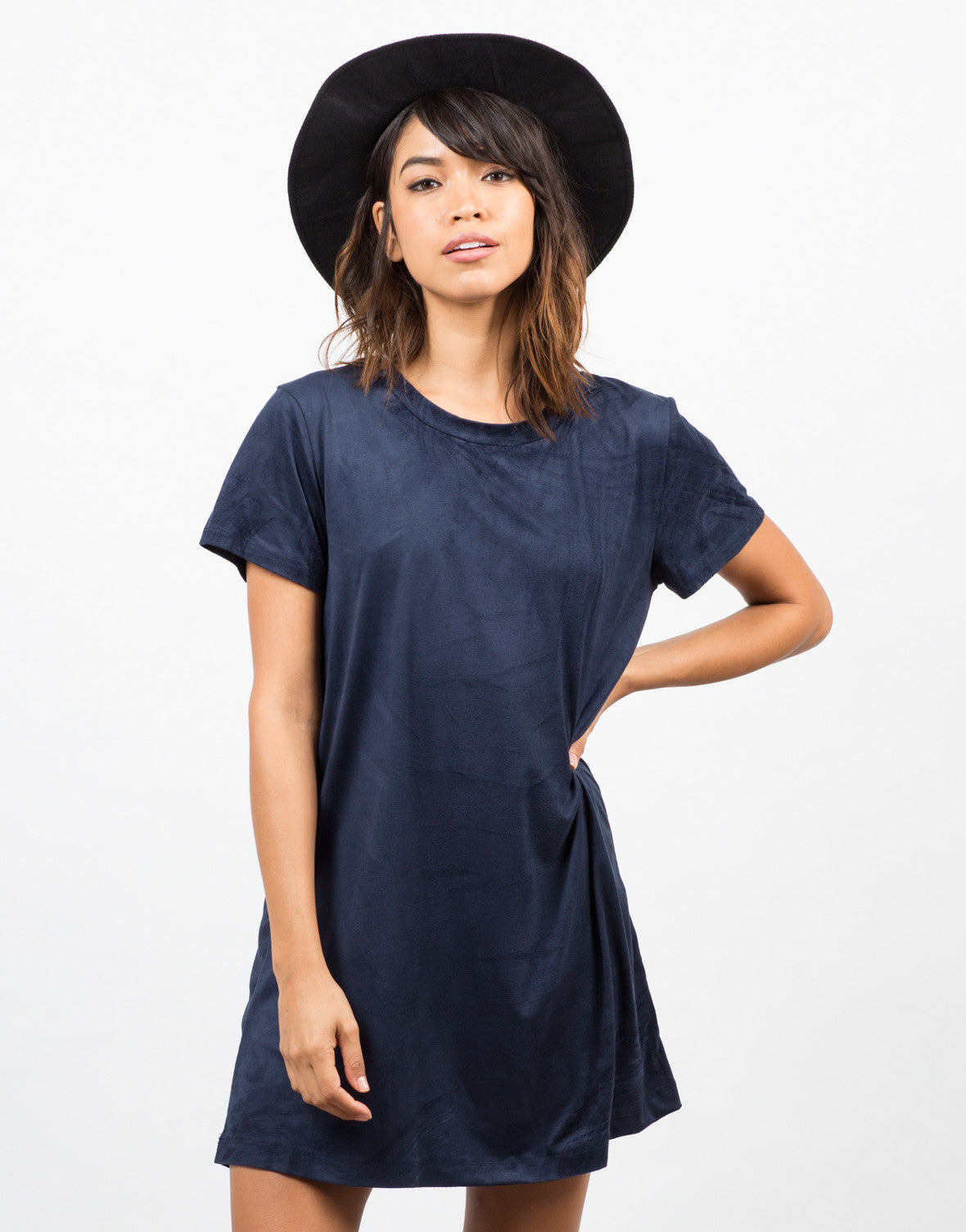 Front View of Suede T-Shirt Dress