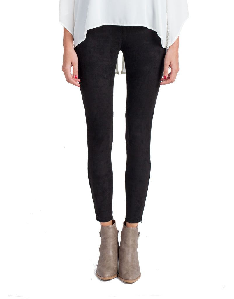 Suede Zipper Bottom Leggings - 2020AVE