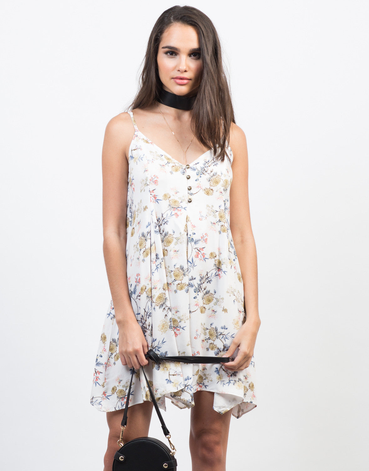 Front View of Summer Floral Handkerchief Dress