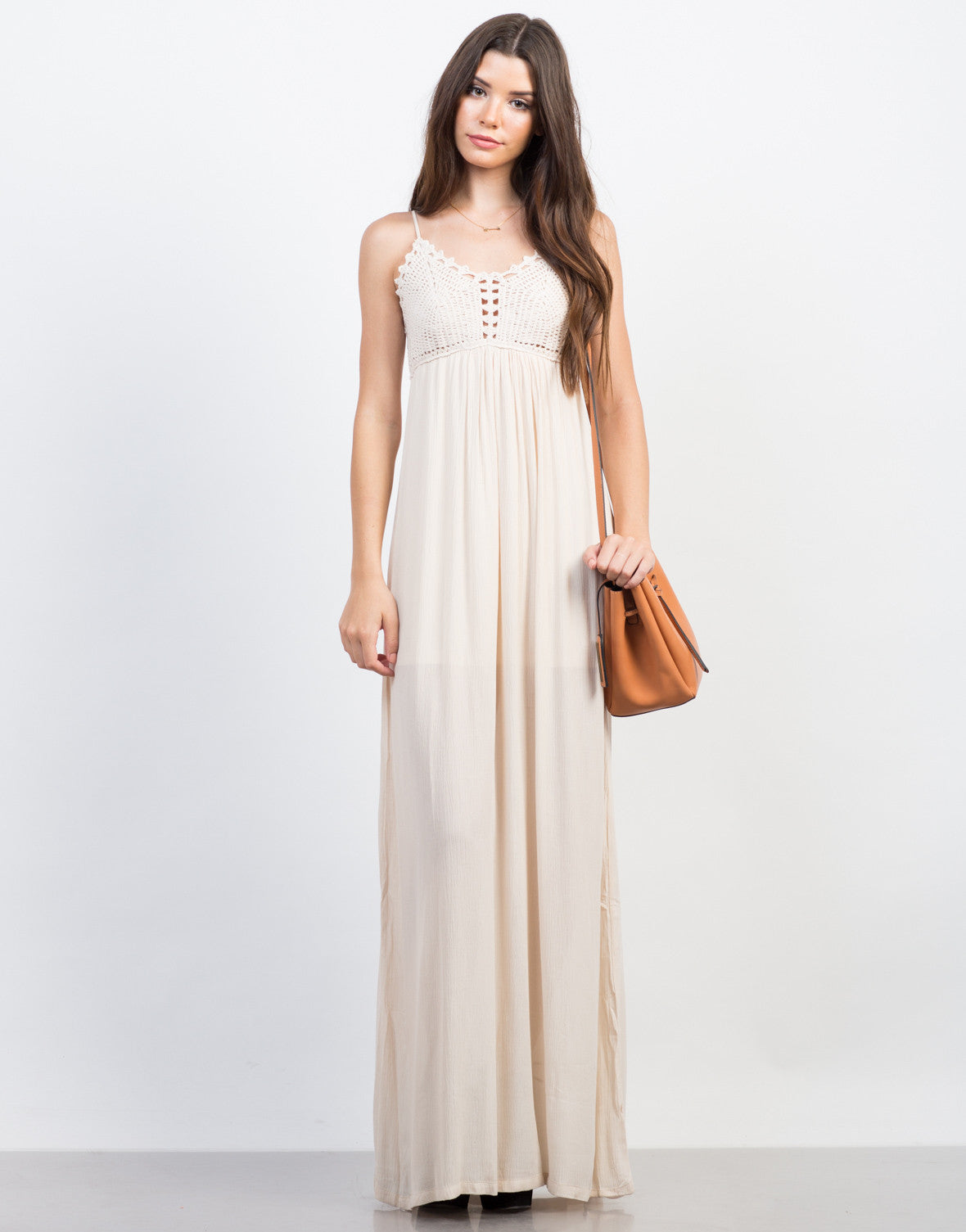 Front View of Summer Knit Maxi Dress