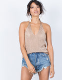 Rose Gold Summer Metallics Halter Top - Front View