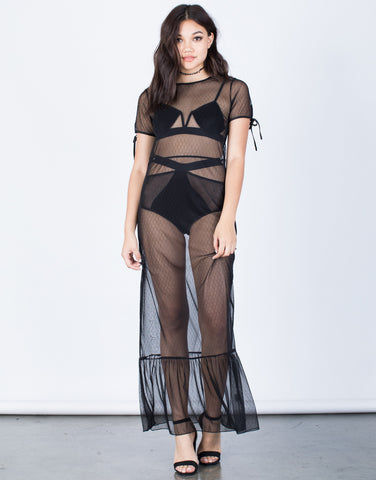 Front View of Summer Vibes Sheer Dress