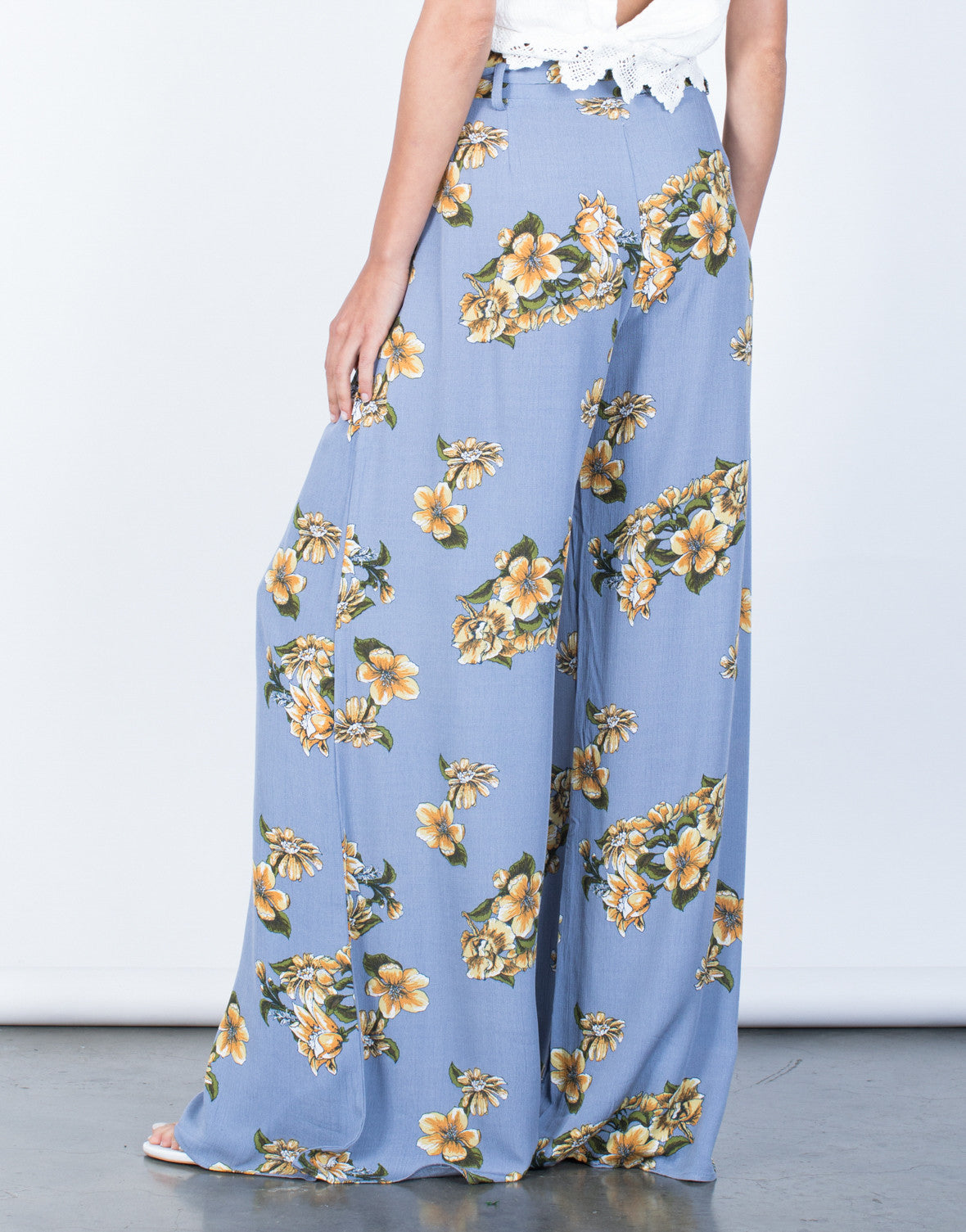 Back View of Sun Garden Floral Pants