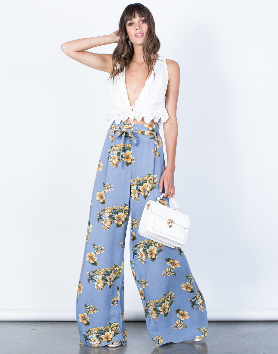 Front View of Sun Garden Floral Pants