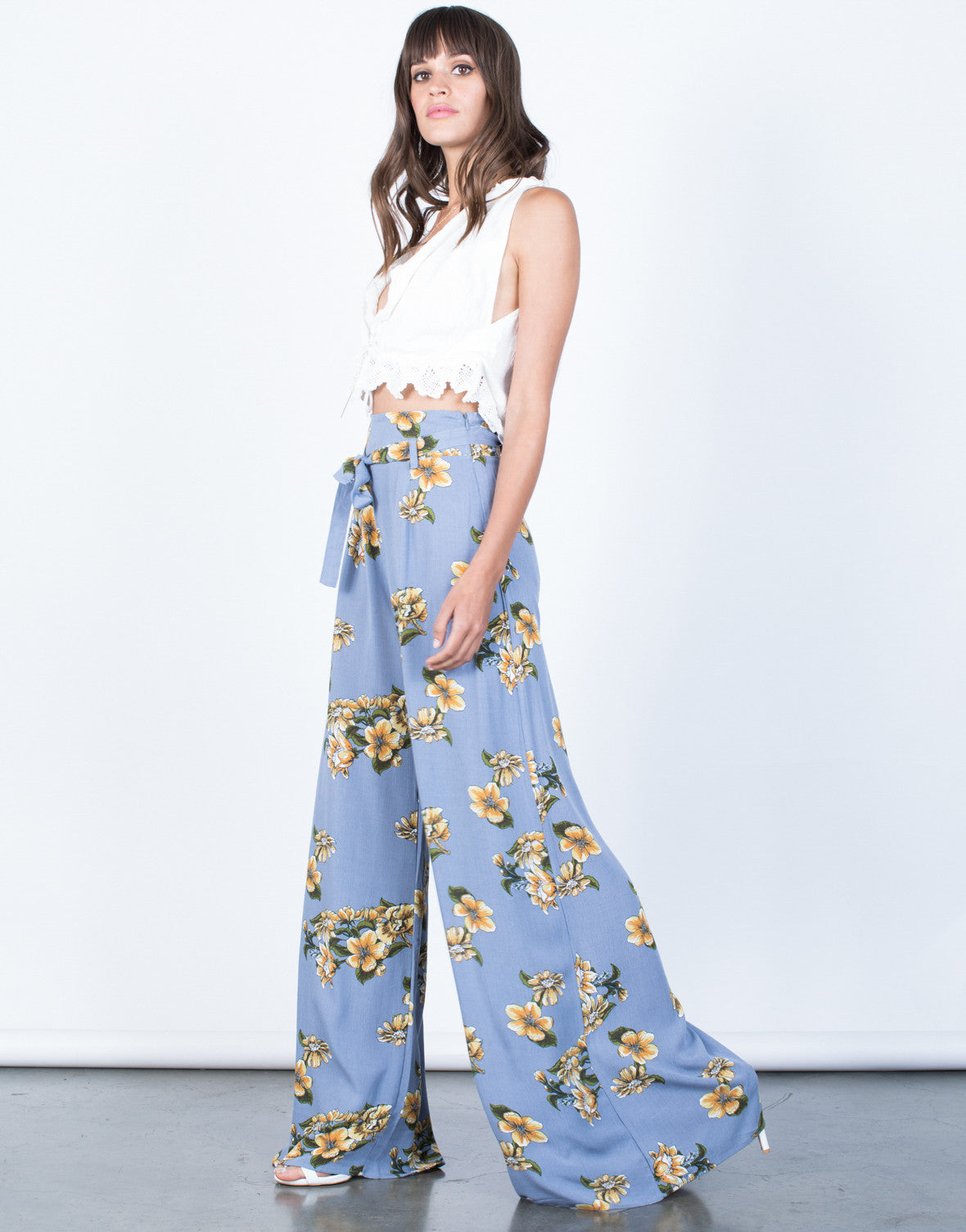 Side View of Sun Garden Floral Pants