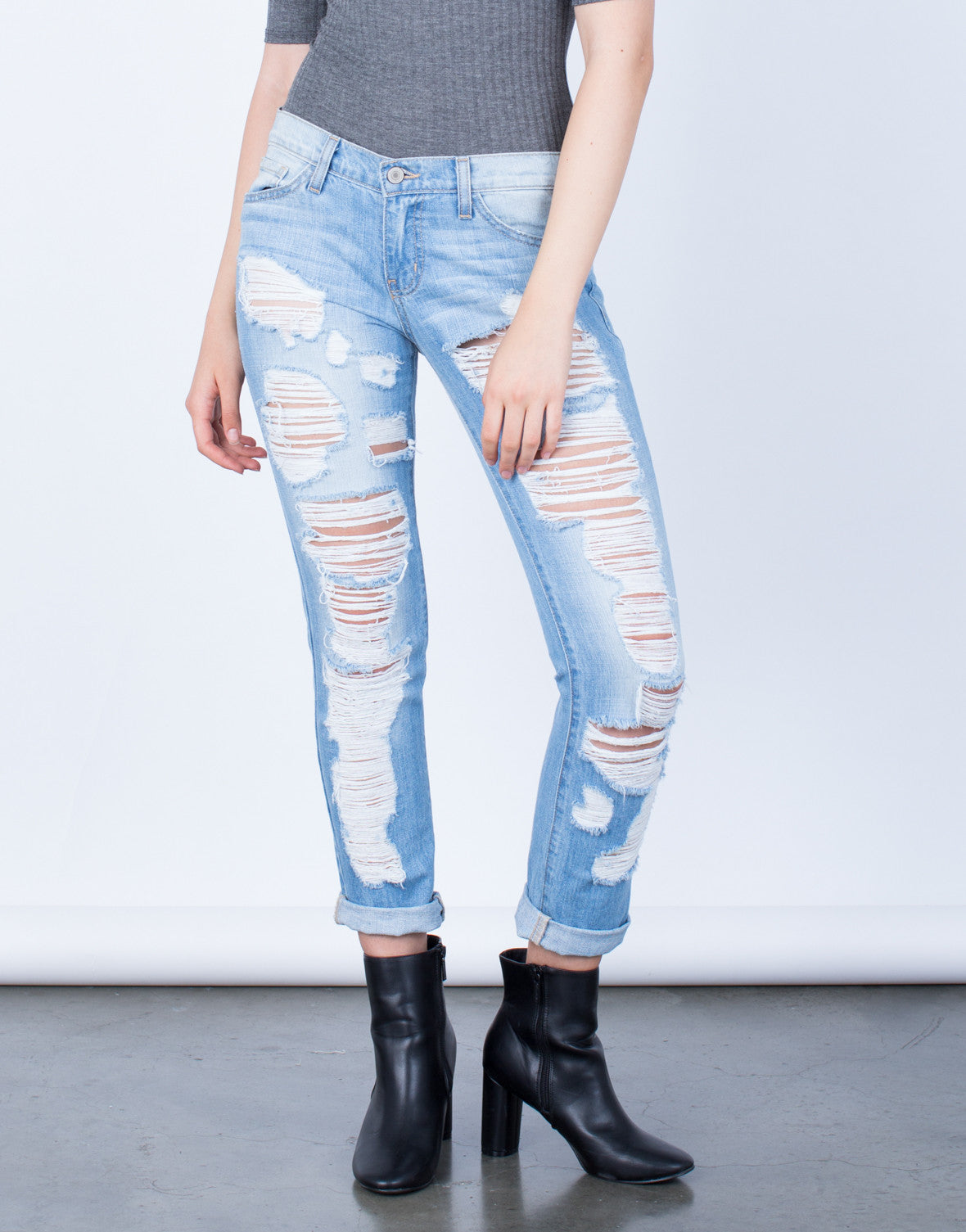 Front View of Super Destroyed Boyfriend Jeans